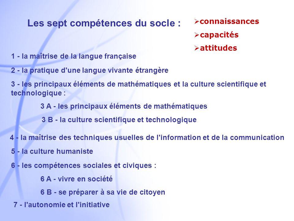Les sept compétences du socle :