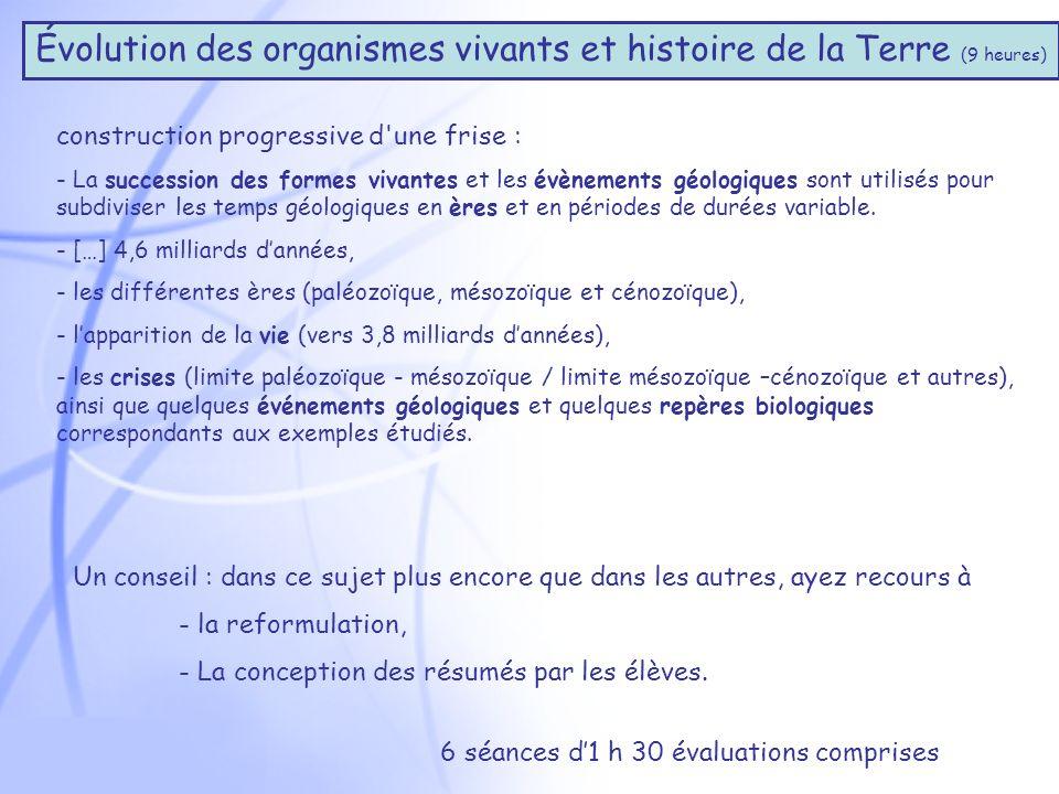 Évolution des organismes vivants et histoire de la Terre (9 heures)