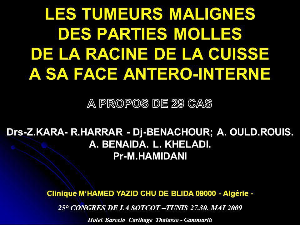 LES TUMEURS MALIGNES DES PARTIES MOLLES DE LA RACINE DE LA CUISSE A SA FACE ANTERO-INTERNE