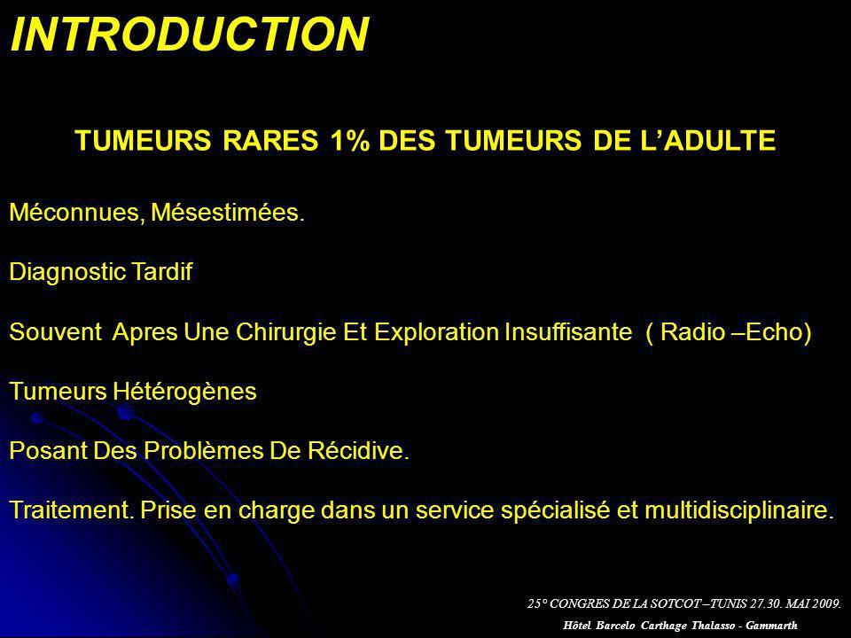 INTRODUCTION TUMEURS RARES 1% DES TUMEURS DE L'ADULTE