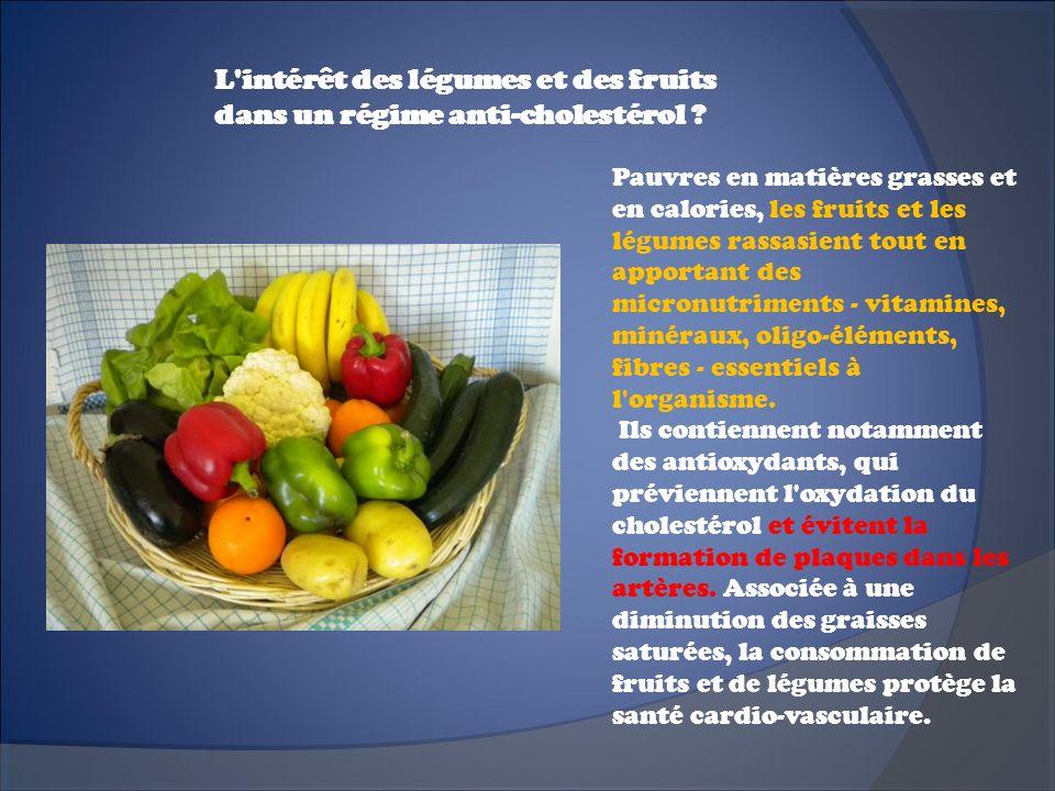 L intérêt des légumes et des fruits dans un régime anti-cholestérol