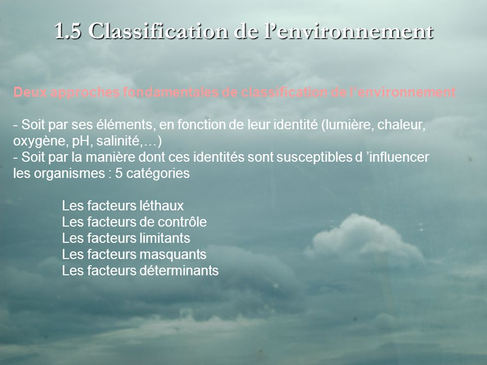 1.5 Classification de l'environnement