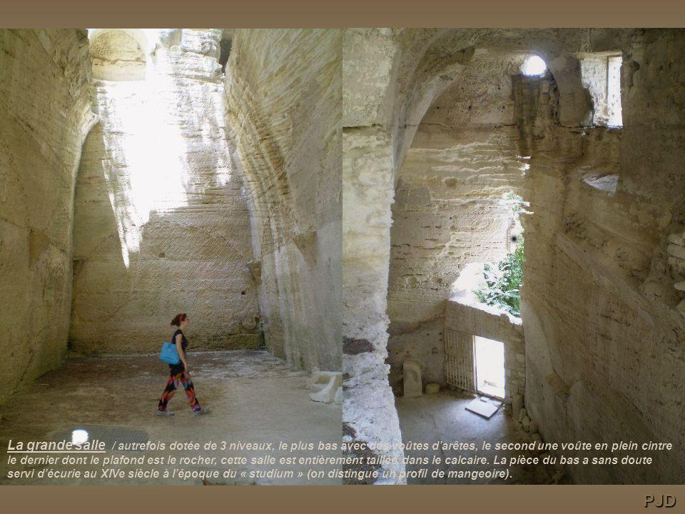 La grande salle / autrefois dotée de 3 niveaux, le plus bas avec des voûtes d'arêtes, le second une voûte en plein cintre le dernier dont le plafond est le rocher, cette salle est entièrement taillée dans le calcaire. La pièce du bas a sans doute servi d'écurie au XIVe siècle à l'époque du « studium » (on distingue un profil de mangeoire).