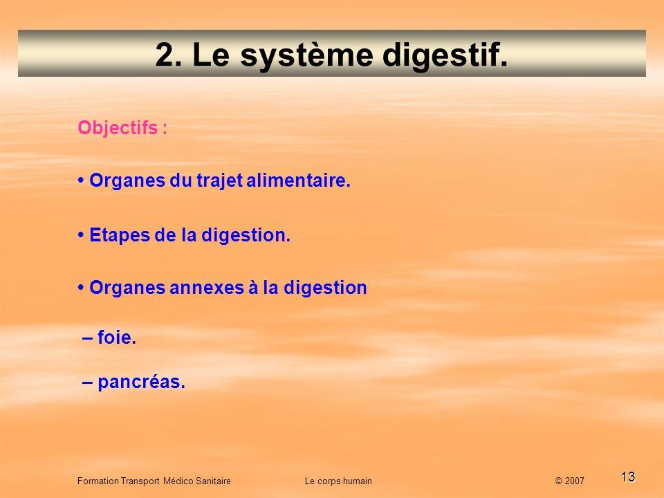 2. Le système digestif. Objectifs : • Organes du trajet alimentaire.
