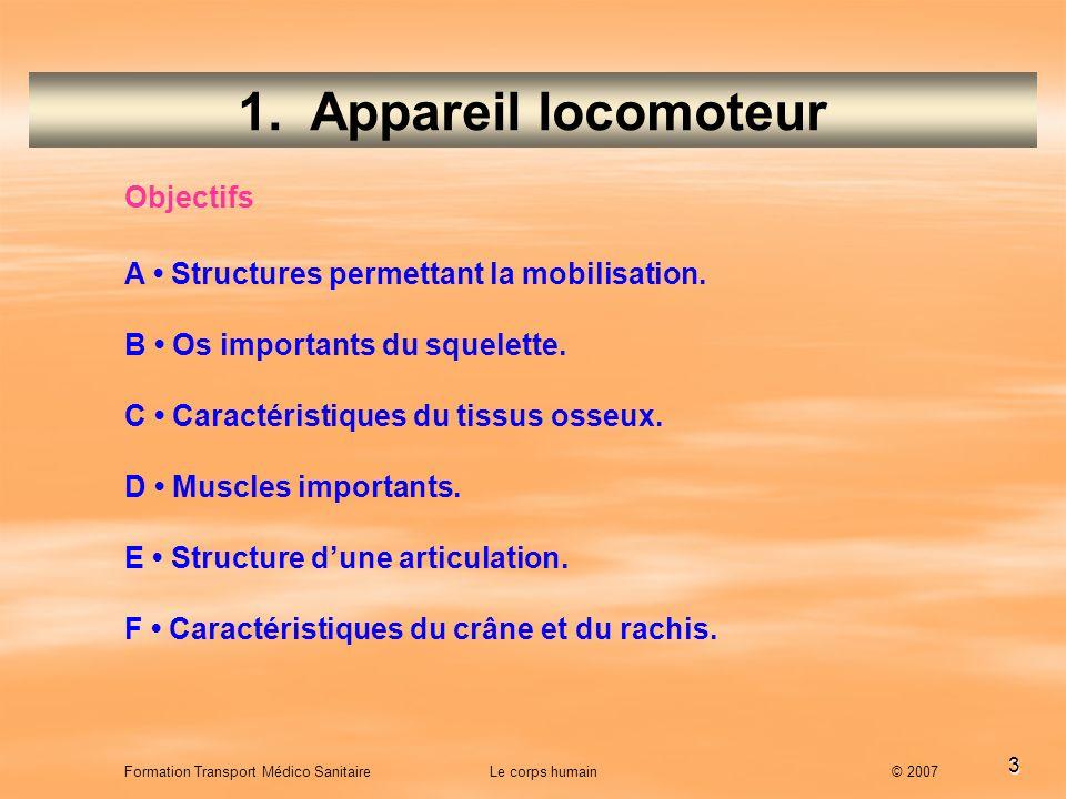 1. Appareil locomoteur Objectifs