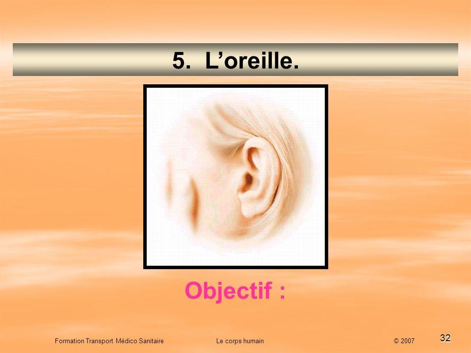 5. L'oreille. Objectif :