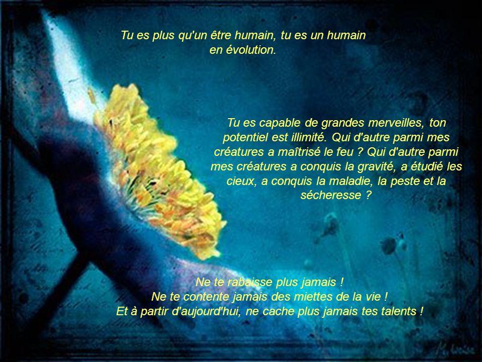 Tu es plus qu un être humain, tu es un humain en évolution.