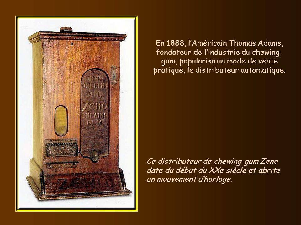 En 1888, l'Américain Thomas Adams, fondateur de l'industrie du chewing-gum, popularisa un mode de vente pratique, le distributeur automatique.