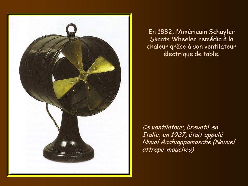 En 1882, l'Américain Schuyler Skaats Wheeler remédia à la chaleur grâce à son ventilateur électrique de table.