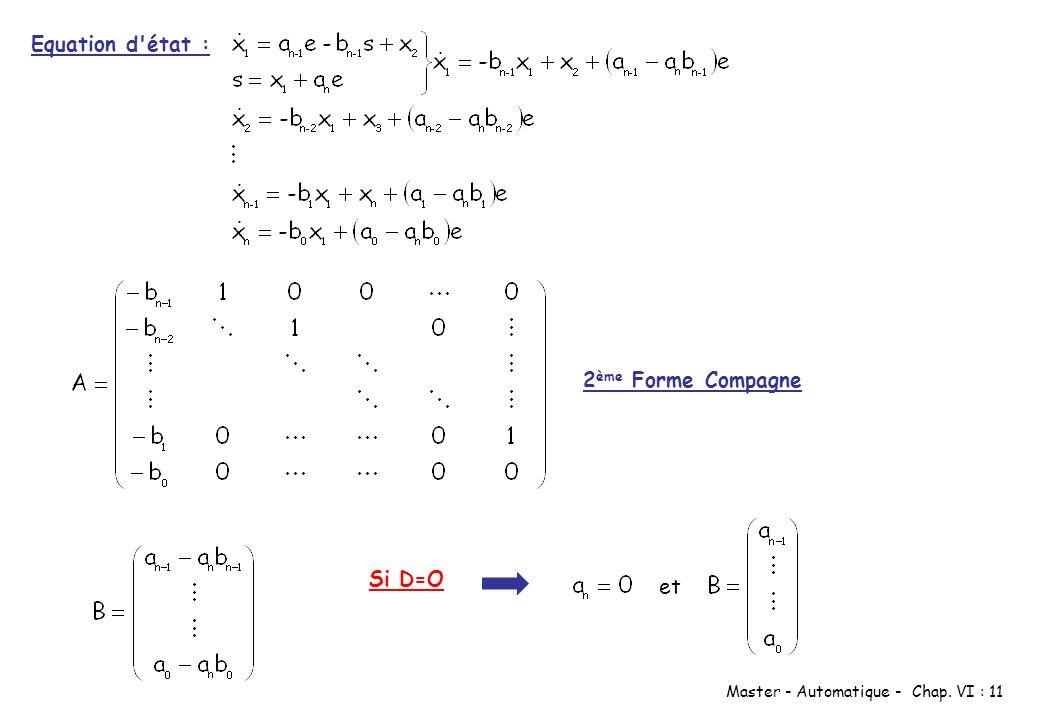 Equation d état : 2ème Forme Compagne Si D=O et