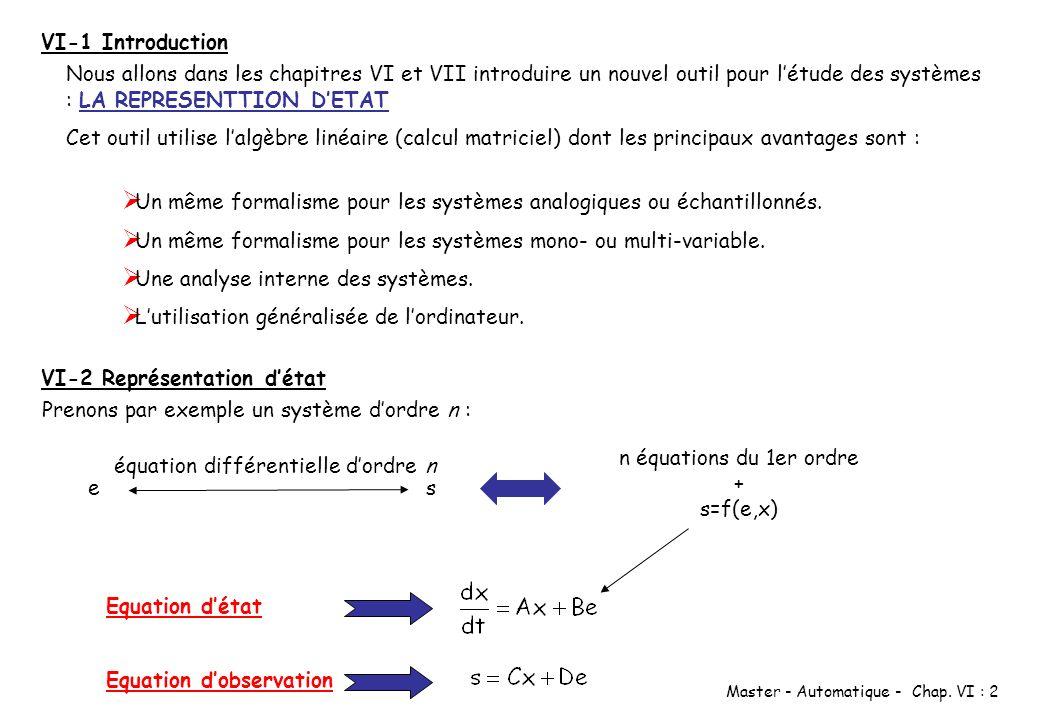 VI-1 Introduction Nous allons dans les chapitres VI et VII introduire un nouvel outil pour l'étude des systèmes : LA REPRESENTTION D'ETAT.