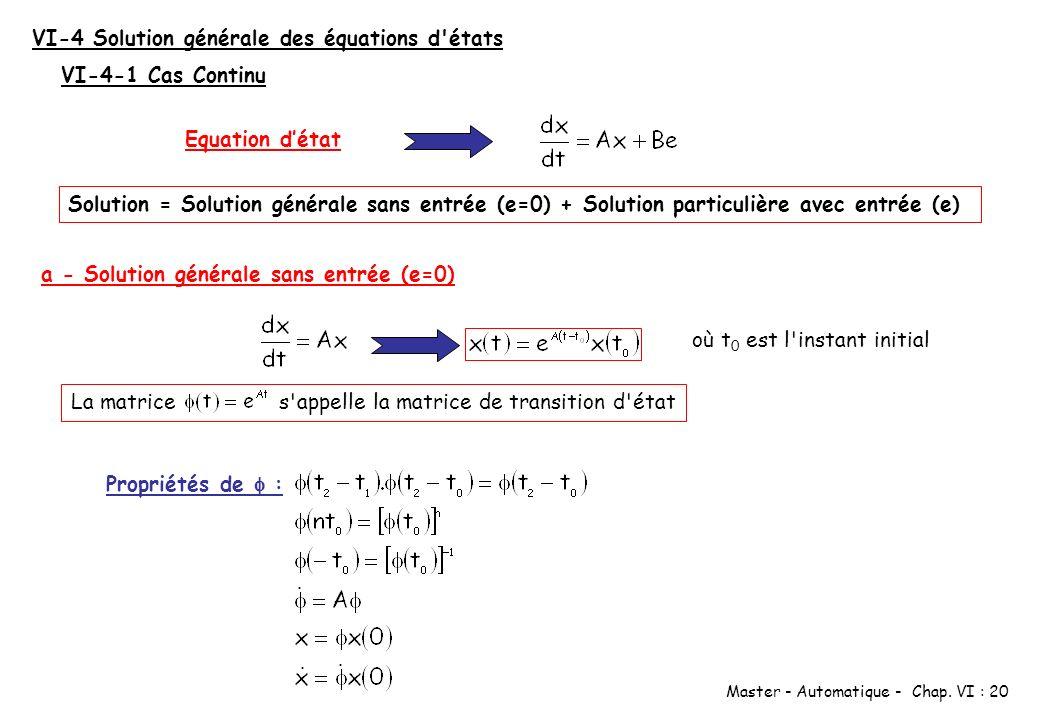 VI-4 Solution générale des équations d états