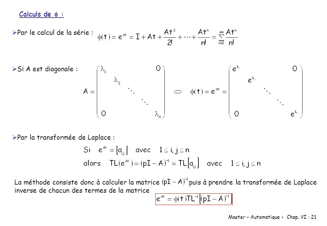 Calculs de  : Par le calcul de la série : Si A est diagonale : Par la transformée de Laplace :
