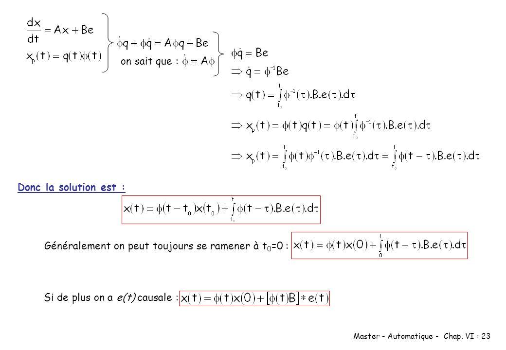 on sait que : Donc la solution est : Généralement on peut toujours se ramener à t0=0 : Si de plus on a e(t) causale :