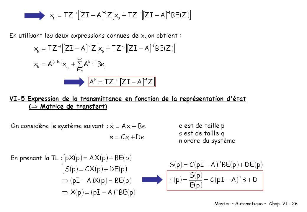 En utilisant les deux expressions connues de xk on obtient :