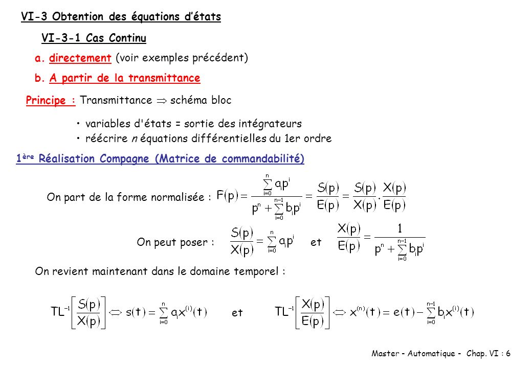 VI-3 Obtention des équations d'états