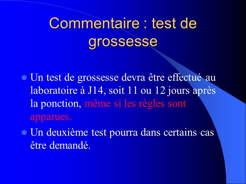 Commentaire : test de grossesse