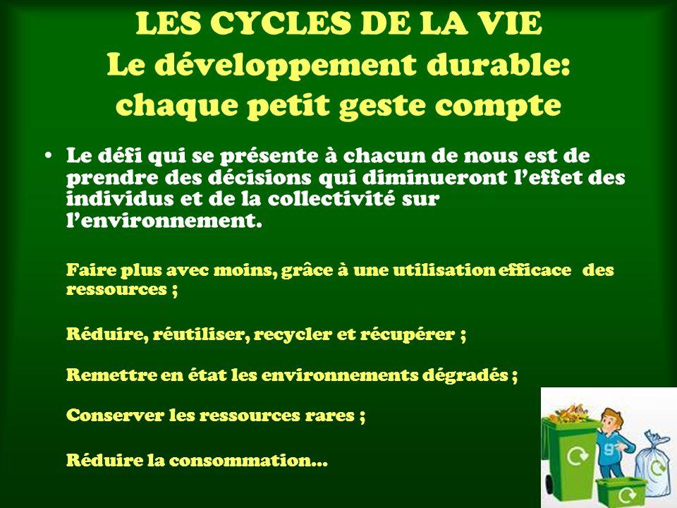 LES CYCLES DE LA VIE Le développement durable: chaque petit geste compte