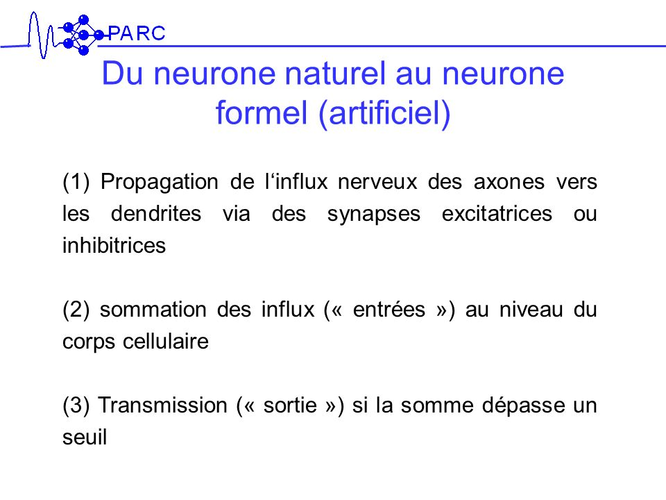 Du neurone naturel au neurone formel (artificiel)