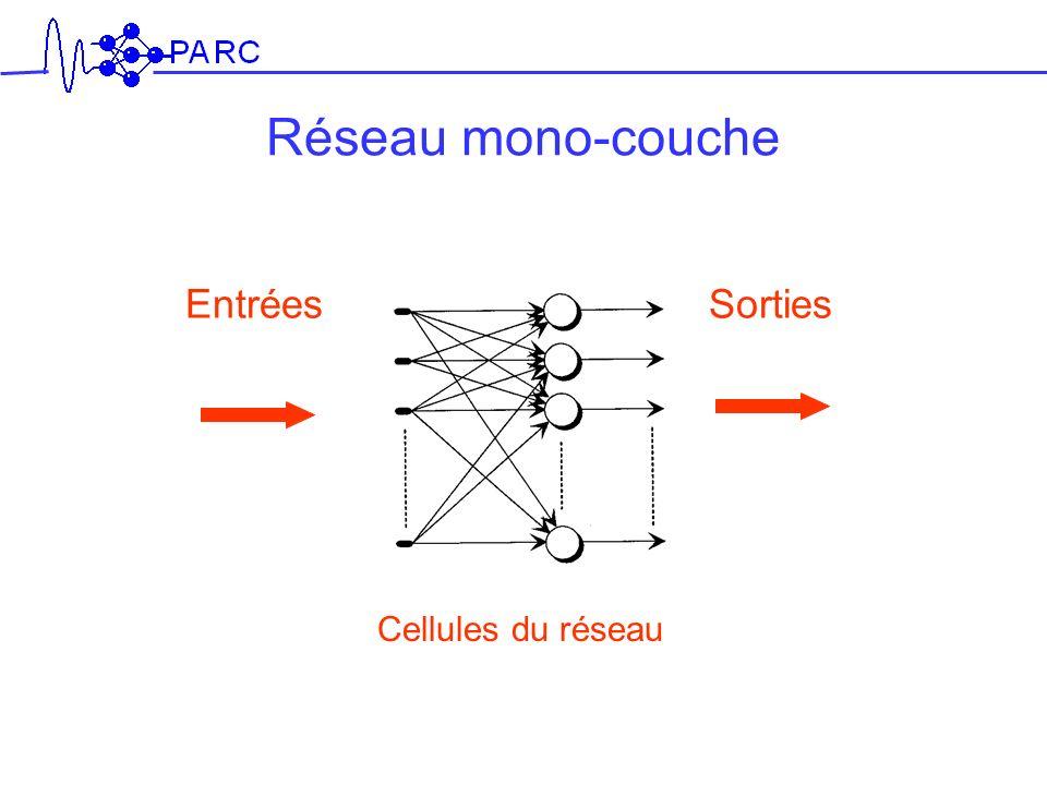 Réseau mono-couche Entrées Sorties Cellules du réseau