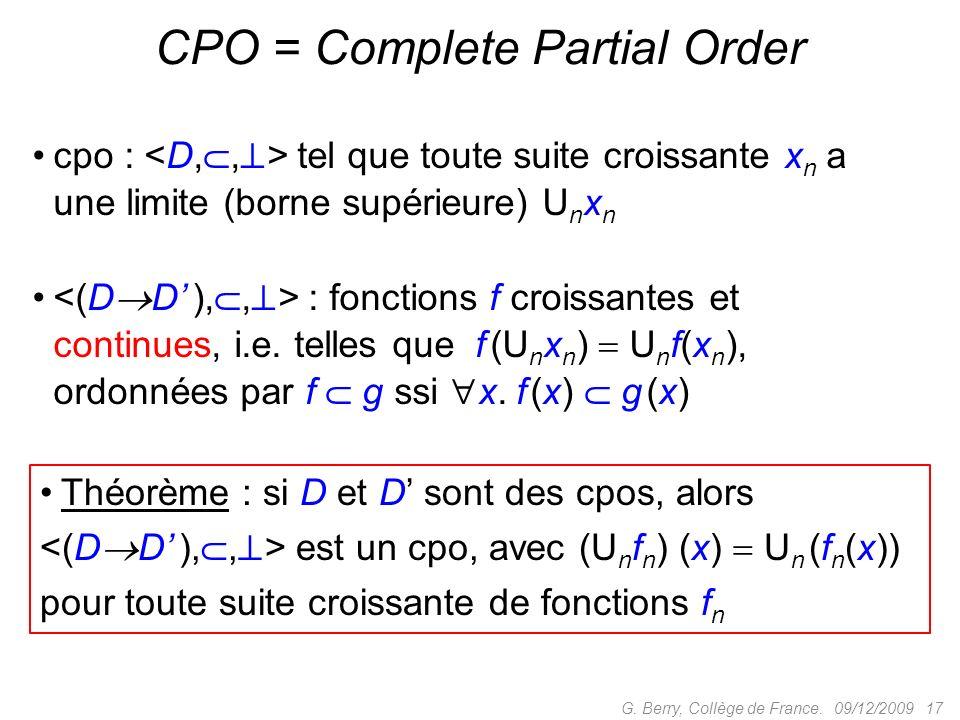 CPO = Complete Partial Order