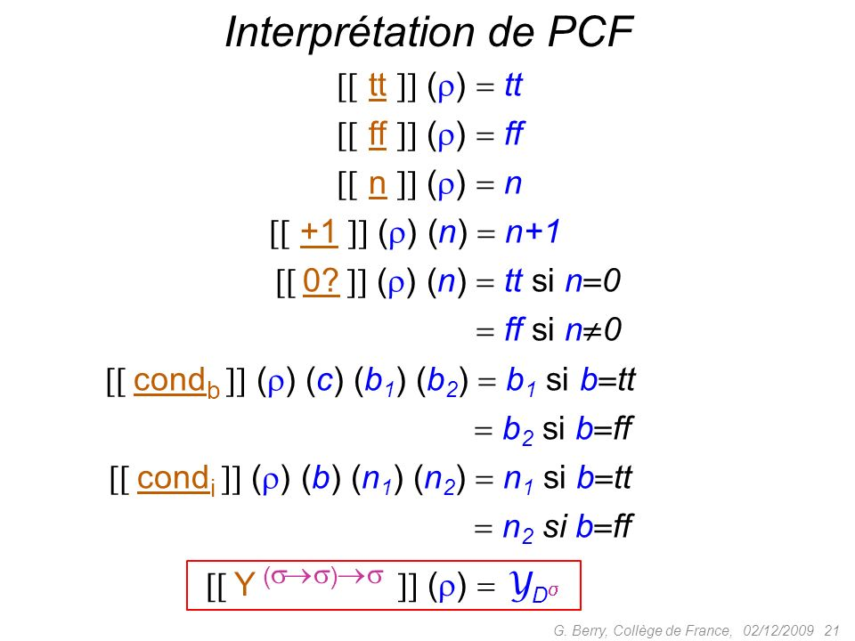 Interprétation de PCF