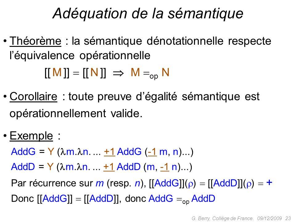 Adéquation de la sémantique