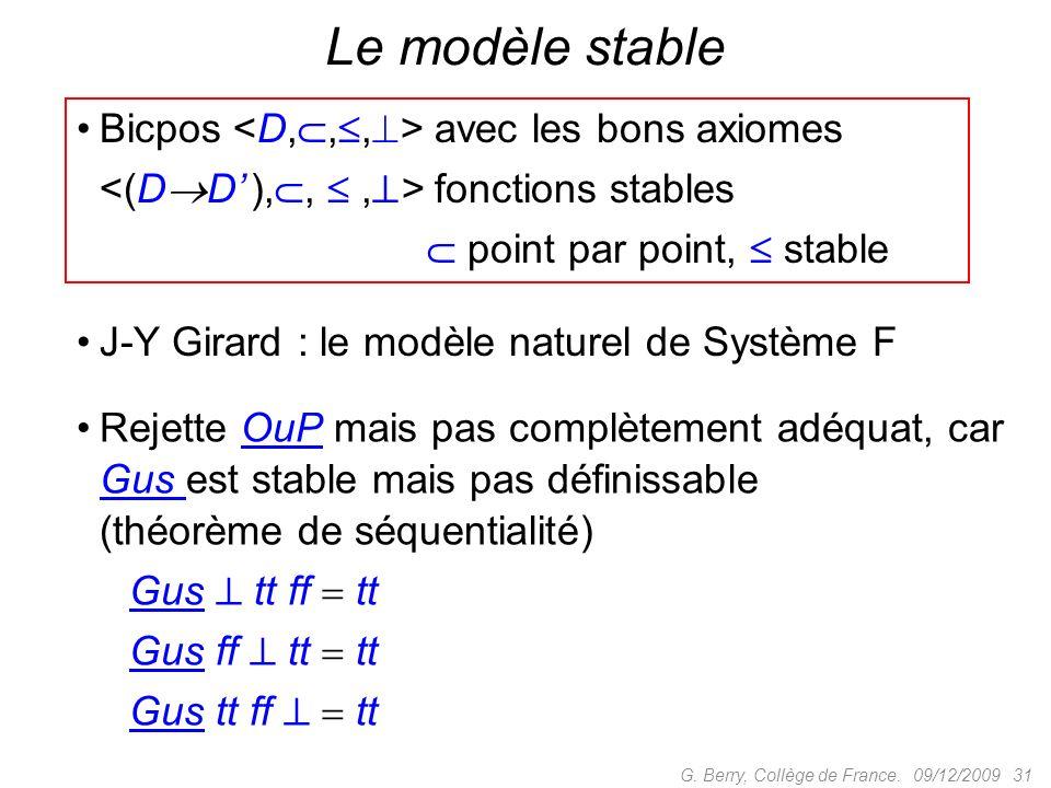 Le modèle stable Bicpos <D,,,> avec les bons axiomes