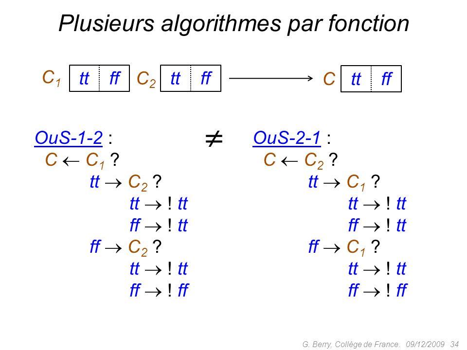 Plusieurs algorithmes par fonction