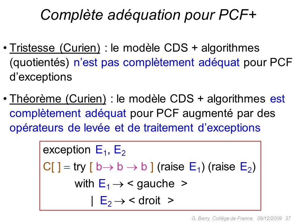 Complète adéquation pour PCF+
