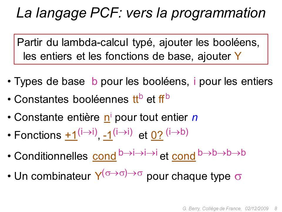 La langage PCF: vers la programmation