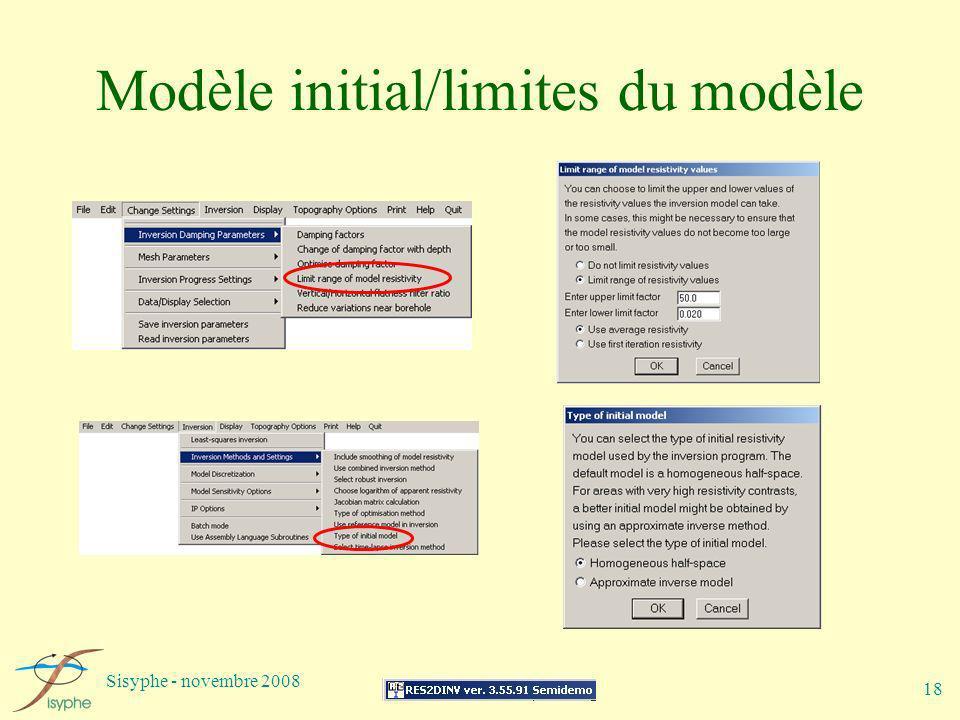 Modèle initial/limites du modèle