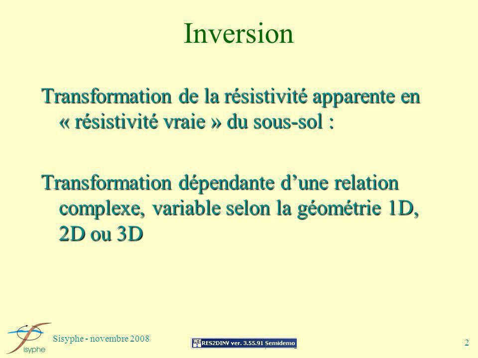 Inversion Transformation de la résistivité apparente en « résistivité vraie » du sous-sol :