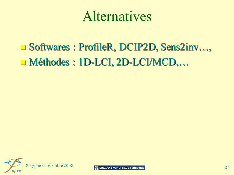 Alternatives Softwares : ProfileR, DCIP2D, Sens2inv…,