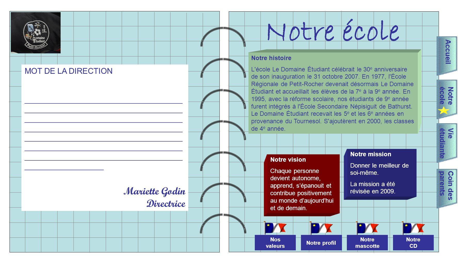 Notre école Mariette Godin Directrice MOT DE LA DIRECTION