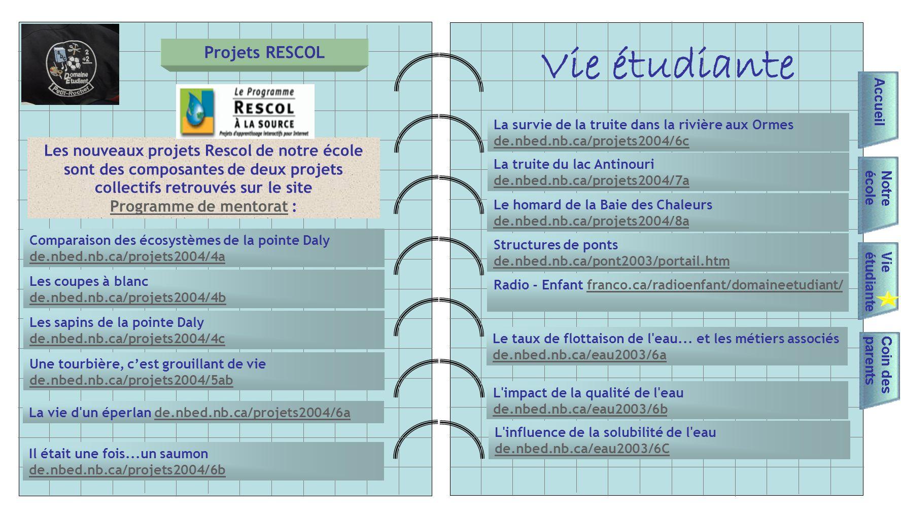 Vie étudiante Projets RESCOL