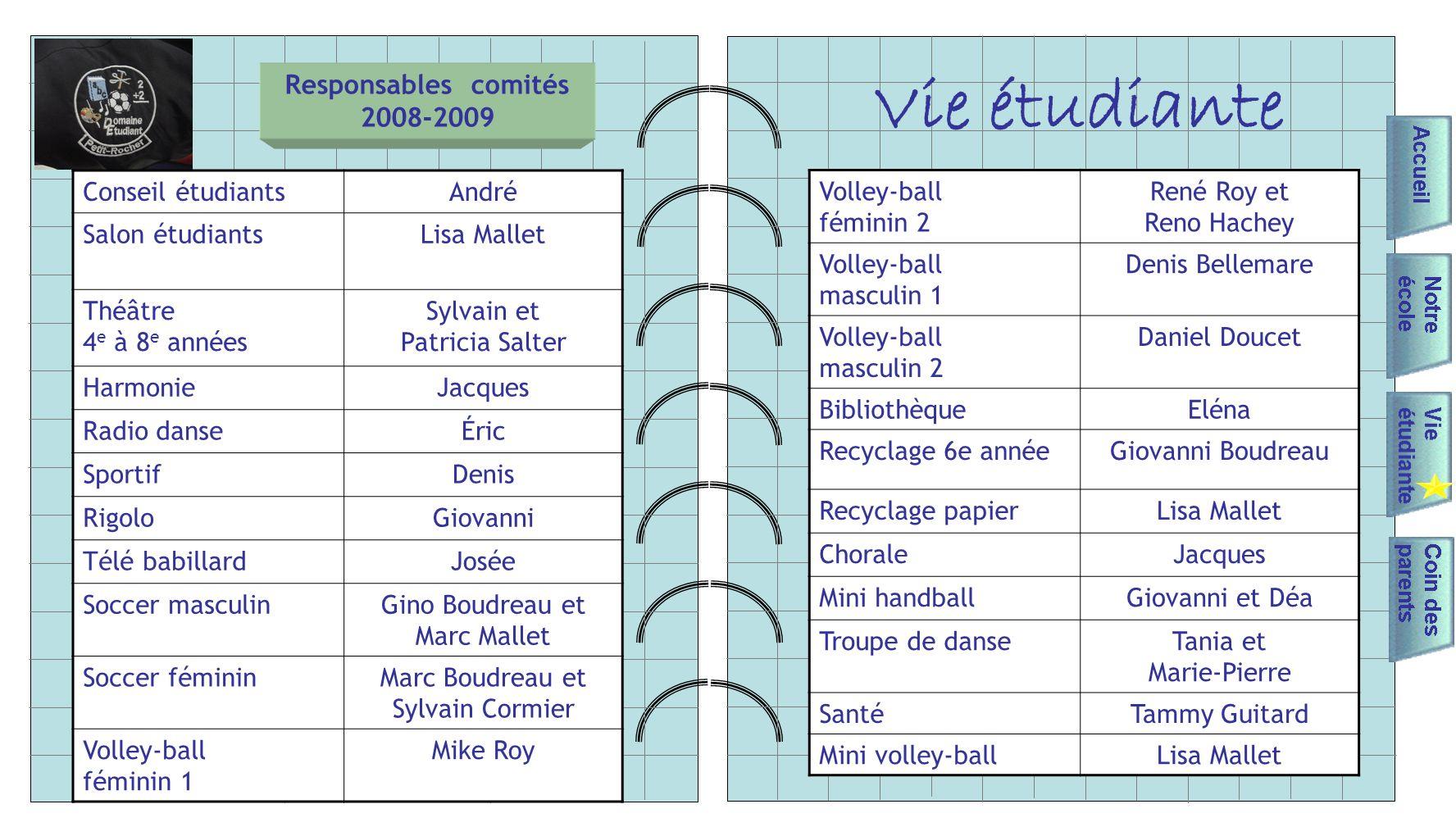 Responsables comités 2008-2009