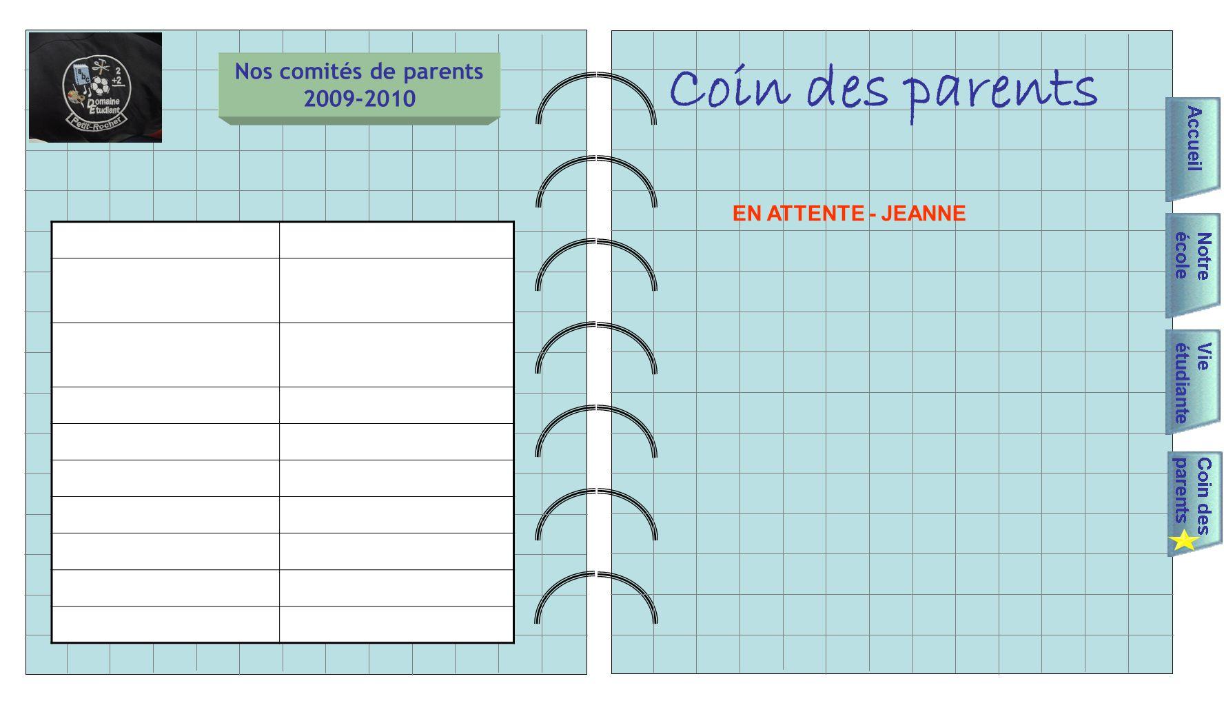Nos comités de parents 2009-2010