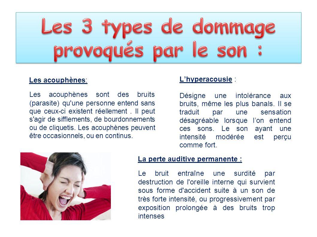 Les 3 types de dommage provoqués par le son :