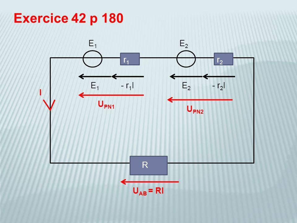Exercice 42 p 180 E1 E2 r1 r2 E1 - r1I E2 - r2I I UPN1 UPN2 R UAB = RI