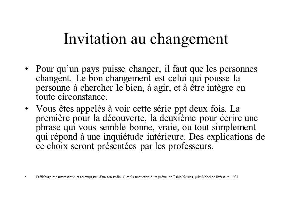Invitation au changement