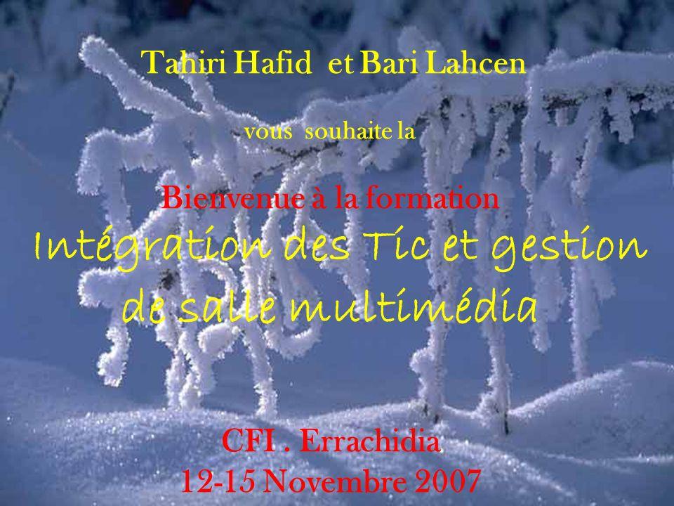 Tahiri Hafid et Bari Lahcen vous souhaite la Bienvenue à la formation Intégration des Tic et gestion de salle multimédia CFI .