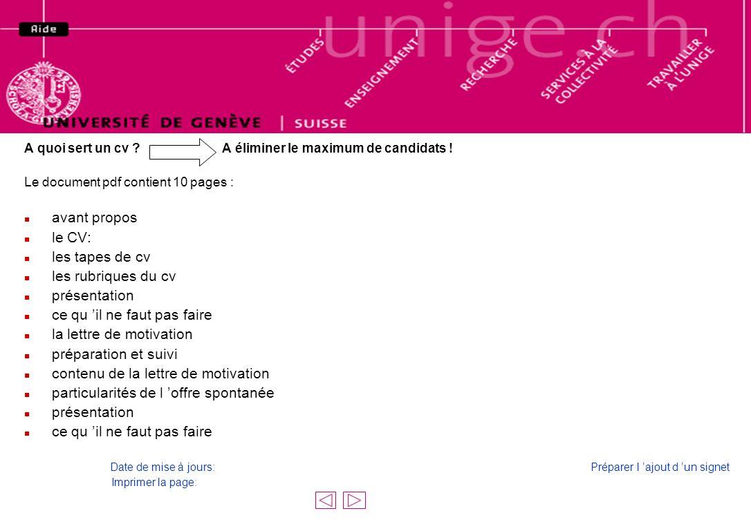 CV et lettre de motivation, document en PDF