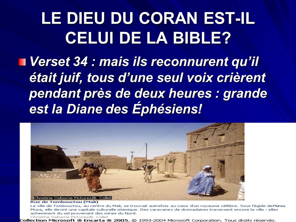 LE DIEU DU CORAN EST-IL CELUI DE LA BIBLE