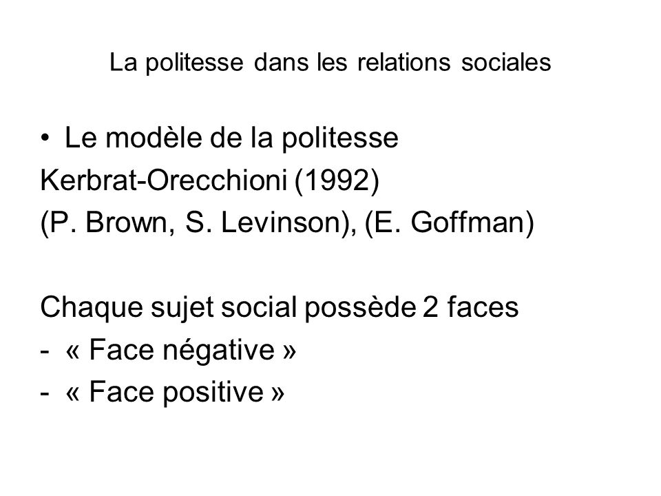 La politesse dans les relations sociales