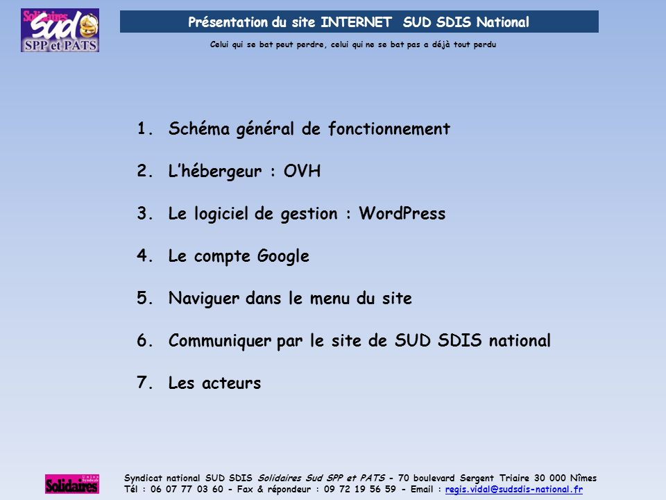 Présentation du site INTERNET SUD SDIS National