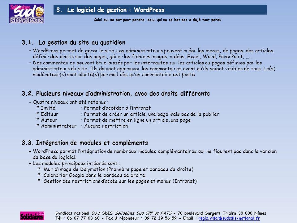 3. Le logiciel de gestion : WordPress