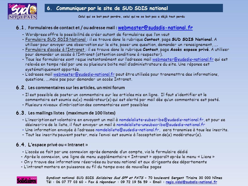 6. Communiquer par le site de SUD SDIS national