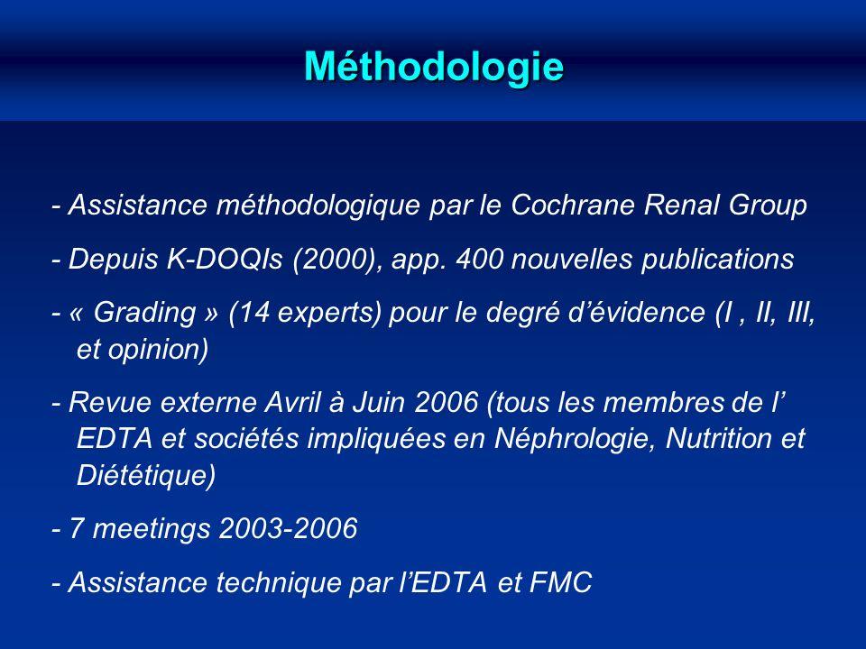 Méthodologie - Assistance méthodologique par le Cochrane Renal Group