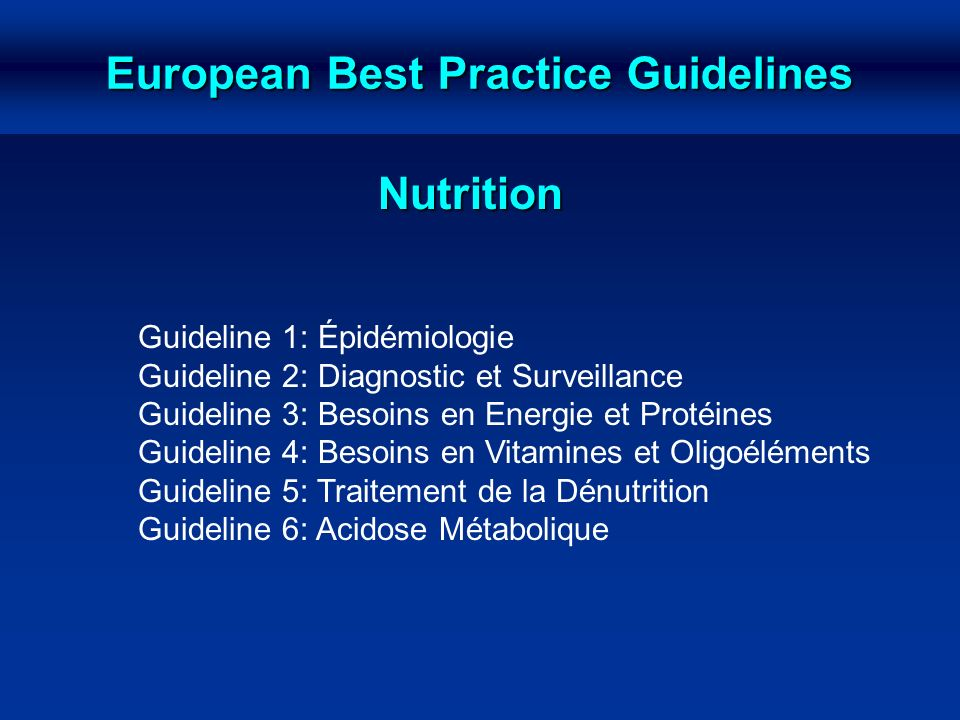 European Best Practice Guidelines